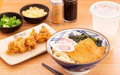 Sweetened Tofu Pocket Udon in Bonito Broth and Chicken Karaage with Homemade Cold Barley Drink for 1 Person