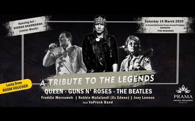 Dinner Buffet Vip: Tribute To The Legends Queen, Gun N' Roses, The Beatles For 1 Pax