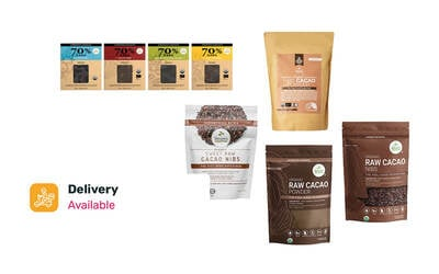 Free Delivery: Guilt-Free Chocolate Lover - One (1) Organic Raw Cacao Powder + One (1) Cacao Nibs + One (1) Organic Sweet Cacao Nibs + Four (4) Types of Chocolate Bars